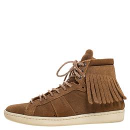 Saint Laurent Brown Suede Classic Court Fringe Sneakers Size 35 267476