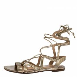 Gianvito Rossi Metallic Gold Leather Gladiator Ankle Length Flat Sandals Size 35.5 267477