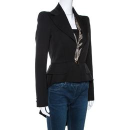 Alexander McQueen Black Wool Embellished Tail Blazer S 267507