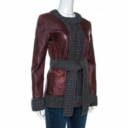 D & G Burgundy Lamb Leather Rib Knit Trim Jacket M Dandg 267503