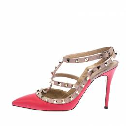 Valentino Pink Leather Rockstud Cage Sandals Size 39.5