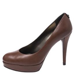Stuart Weitzman Brown Leather Platform Pumps Size 38 266592