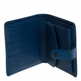 Louis Vuitton Blue Epi Leather Compact Wallet 266937