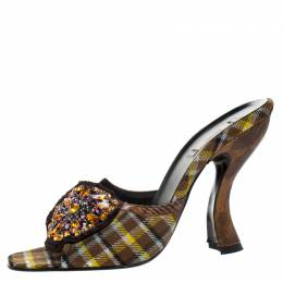 Prada Multicolor Crystal Embellished Check Fabric Slide Sandals Size 37.5 266938