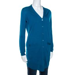 Yves Saint Laurent Blue Wool Button Front Cardigan S 268721