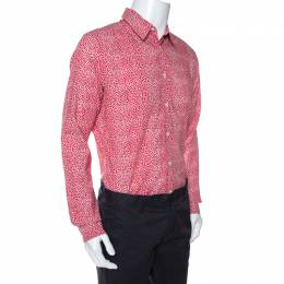 Louis Vuitton Red Printed Cotton Long Sleeve Shirt M 267985