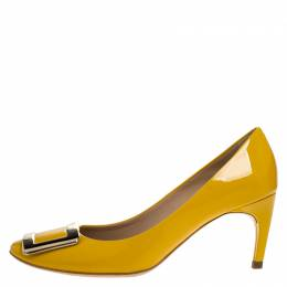 Roger Vivier Yellow Patent Leather Metal Logo Round Toe Pumps Size 35.5 268471