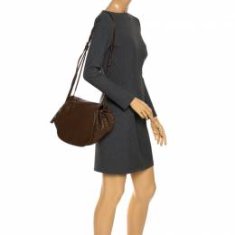 Bottega Veneta Brown Intrecciato Leather Drawstring Flap Crossbody Bag 267451