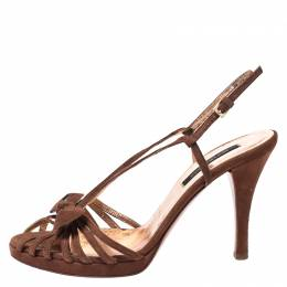 Sergio Rossi Brown Suede Strappy Bow Sandals Size 38 266929
