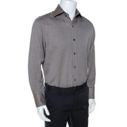 Tom Ford Brown Herringbone Cotton Long Sleeve Shirt XL 268088