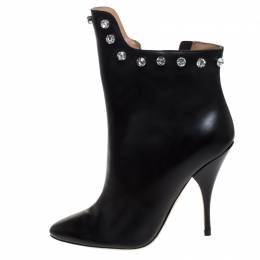 Marco De Vincenzo Black Leather And PVC Crystal Studded Trim Ankle Boots Size 41 267999