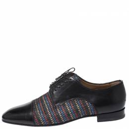 Christian Louboutin Black Leather and Multicolor Woven Straw Daviol Derby Size 42.5 268880