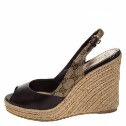 Gucci Brown GG Canvas and Leather Slingback Espadrille Wedges Size 39.5