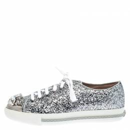 Miu Miu Silver Glitter Crystal Embellished Lace Up Sneakers Size 37.5 266829