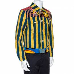 Fendi Yellow & Blue Stripe Print Canvas Fur Detail Jacket S 266558