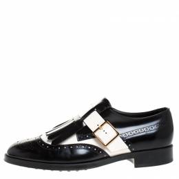 Tod's Black/White Leather Fringe Brogue Monk Strap Loafers Size 39 Tod's 269213