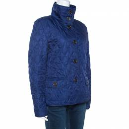 Burberry Brit Blue Diamond Quilted Button Front Jacket M 268274