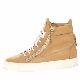 Giuseppe Zanotti Design Beige Leather Double Zipper High Top Sneakers Size 41