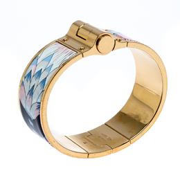 Hermes Gold Plated Savana Dance Enamel Hinged Bangle Bracelet 266505