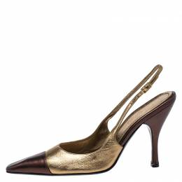 Casadei Metallic Gold/Brown Leather Pointed Toe Slingback Sandals Size 37.5 266838