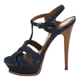 Saint Laurent Blue Denim Tribute Platform Sandals Size 37 267949