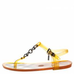 Burberry Brown Jelly Chain Detail Thong Flat Sandals Size 36 266877
