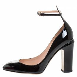 Valentino Black Patent Leather Tango Ankle Strap Pumps Size 38