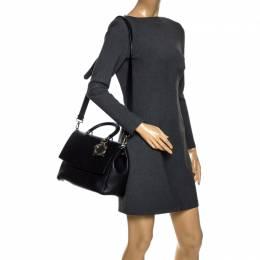 Dior Black Leather Large Be Dior Flap Top Handle Bag 267953