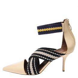 Malone Souliers Multicolor Woven Fabric and Leather Criss Cross Pointed Toe Sandals Size 40 266573