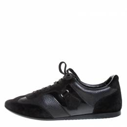 Louis Vuitton Black Leather and Suede Lace Low Top Sneakers Size 40 268258