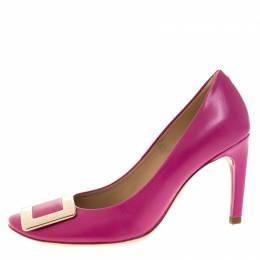 Roger Vivier Pink Leather Metal Logo Round Toe Pumps Size 36 268436