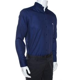 Etro Navy Blue Cotton Long Sleeve Button Down Shirt L 268011