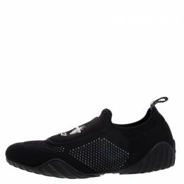 Dior Black Stretch Knit Fabric D-Fence Slip-On Sneakers Size 38.5 268438