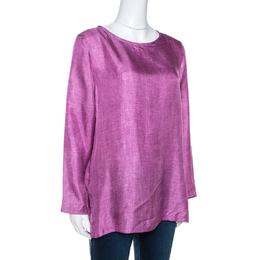 Max Mara Pink Denim Print Silk Long Sleeve Blouse S 268320