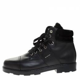 Fendi Black Leather And Fur Trim Lace Up Ankle Boots Size 39 268927