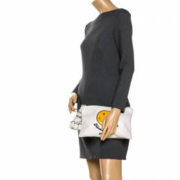 Anya Hindmarch White Leather Have a nice Day Georgiana Clutch 266500