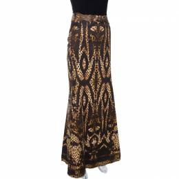 Roberto Cavalli Brown Print Cotton Belted Flared Maxi Skirt M 268213