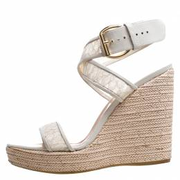 Stuart Weitzman White Lace Guipure Wedge Espadrille Sandals Size 38