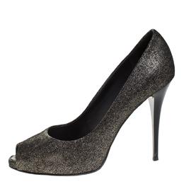 Giuseppe Zanotti Design Black/Grey Glitter Fabric Peep Toe Pumps Size 40 269262