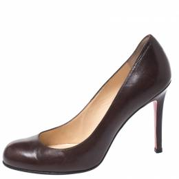 Christian Louboutin Brown Leather Simple Pumps Size 38.5 269264