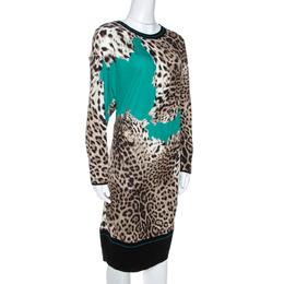 Roberto Cavalli Green Animal Print Knit Fitted Hem Dress M 268222