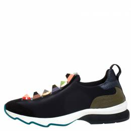 Fendi Black Neoprene Studded Slip On Sneakers Size 38 268225