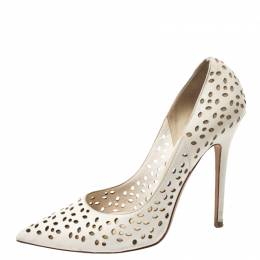 Jimmy Choo White Perforated Leather Anouk Pointed Toe Pumps Size 38.5 266515