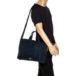 Prada Dark Blue Nylon Laptop Bag 267771