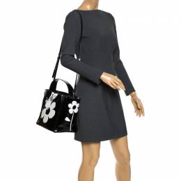 Prada Black Patent Leather Spazzolato Flower Top Handle Bag 269252
