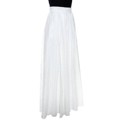 Alaia White Cotton Jacquard Flared Maxi Skirt M 268234 - 1