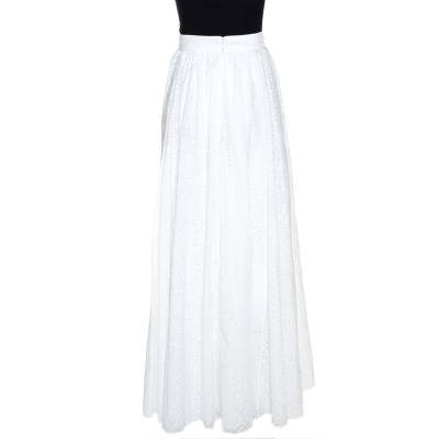 Alaia White Cotton Jacquard Flared Maxi Skirt M 268234 - 2