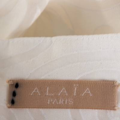 Alaia White Cotton Jacquard Flared Maxi Skirt M 268234 - 4