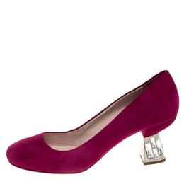 Miu Miu Pink Suede Crystal Embellished Heel Pumps Size 36.5 268124