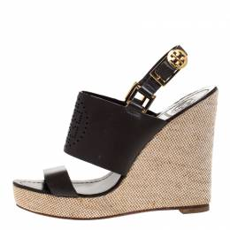 Tory Burch Dark Brown Leather Kimberly Platform Wedges Sandals Size 37 268343